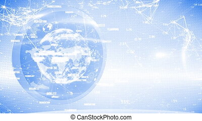 Web of connections icons and spinning globe against blue background