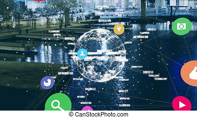 Web of connections icons and spinning globe against city lake