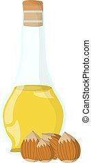 web, olio, olio, illustrazione, grasso, banners., vettore, etichetta, cibo, nocciola, logotipo, icon., cartone animato