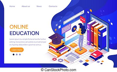 Web Online education infographic or web template with a female student working at a digital screen surrounded by text books and a mortarboard hat for her graduation, vector illustration