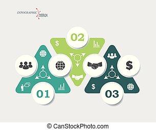 web ontwerp, getallen, groenteblik, grafisch, infographic, zakelijk, driehoeken, opmaak, ontwerp, mal, opties, gebruikt, segments., concept, of, workflow, 3, zijn, presentatie, diagram