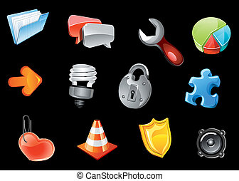 web ontwerp, glanzend, iconen