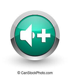 web ontwerp, ronde, chroom, metalen, volume, achtergrond., groene, internet, spreker, witte , schaduw, zilver, pictogram