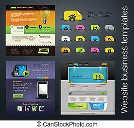 web ontwerp, set, bonus, iconen