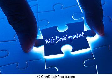 web ontwikkeling, op, puzzelstuk