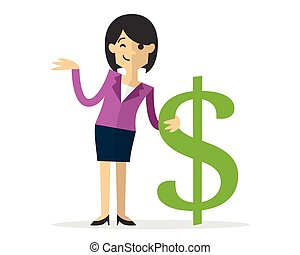 Vector of a business woman with a dollar sign