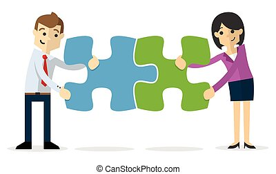 Vector of a businessman and business woman joining puzzles