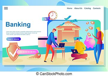 Web page design template for Internet Banking and financial ...