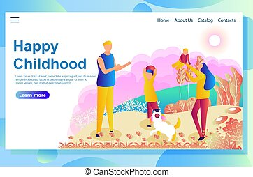 Web page design template shows happy couple playing with children on the lawn.