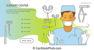 Surgeon and equipment - Web page design templates for online...