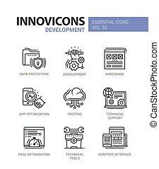 Web Page Development - modern vector line icons set. - Web...