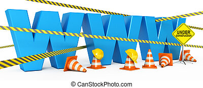 Web page is under construction. Icon isolated on white...