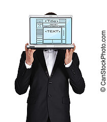 web page - businessman holding laptop with template web page
