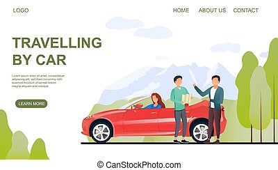 Web page template on travelling by car with a man asking a local person for directions in the countryside, colored vector illustration
