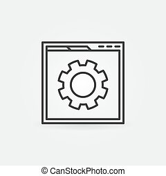 Web page with Cog outline icon. Vector SEO concept symbol