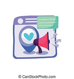 web page with location pin and megaphone, colorful design