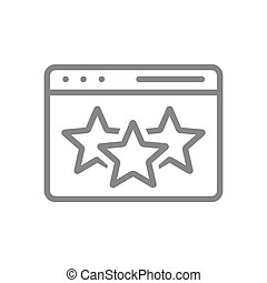 Web page with stars, online review line icon. Feedback, add to favorites, three star rating symbol