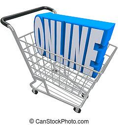web, parola, linea, carrello, internet, cesto, shopping, ...