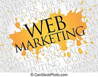 web, parola, nuvola, marketing