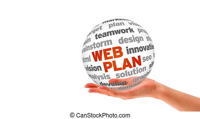 Web Plan Word Sphere - A person holding a 3D Web Plan Word...