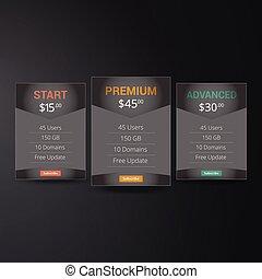 web, plannen, lijst, prijs, hosting, drie, plaats., tariffs., dozen, vector, ui, interface, design., banieren, app., spandoek, ux