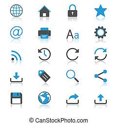 web, plat, met, reflectie, iconen