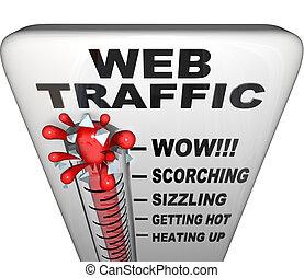 web, populariteit, -, verkeer, thermometer, toenemend