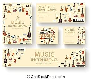 web, prodotto, appartamento, uggia, fondo, icone, festival, strumenti, concept., applications., lungo, o, mobile, vettore, disegno, illustrazione, sagoma, infographics, musica, cerchio, tuo