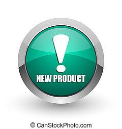 web, product, ronde, chroom, nieuw, metalen, achtergrond., groene, internet, ontwerp, witte , schaduw, zilver, pictogram