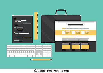 web, programmazione, illustrazione, codificazione, appartamento