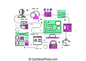 web, programmazione, illustrazione