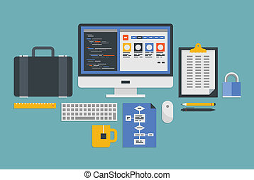 Flat design vector illustration icons set of modern office workflow with various objects and process of web programming development. Isolated on gray background