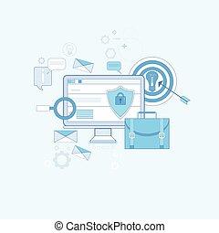 web, protezione dati, magro, linea, sicurezza, tecnologia, linea