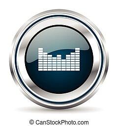 web, pushbutton., cromo, button., metallico, vettore, icon., bordo, argento, rotondo