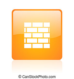 web, quadrat, brandmauer, glänzend, orange, ikone