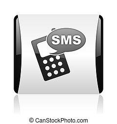web, quadrat, sms, schwarz, glänzend, weißes, ikone
