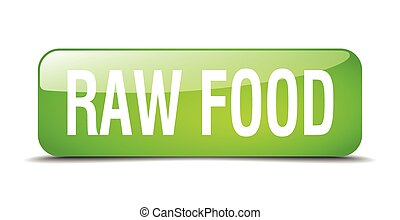 web, quadrato, cibo crudo, bottone, isolato, realistico, verde, 3d