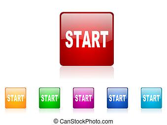web, quadrato, colorito, inizio, set, lucido, icona
