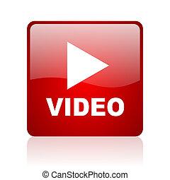 web, quadrato, video, lucido, fondo, bianco rosso, icona