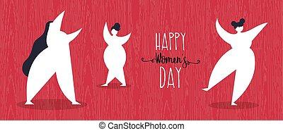 web, ragazze ballo, womens, bandiera, giorno, felice
