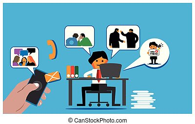 Web Referral program background with office worker invite ...