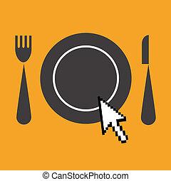 web, restaurants, advertentie, pictogram