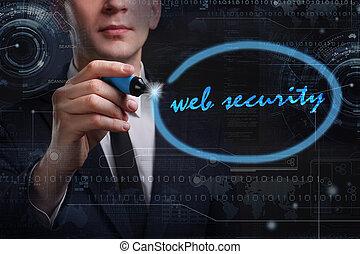 web, rete, affari, tecnologia, concetto, giovane, affari, uomo,  internet, sicurezza, scrittura,  word: