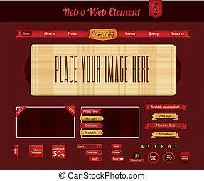 web, retro, elemento