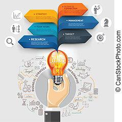 web, richtingwijzer, gebruikt, spandoek, zakelijk, zijn, licht, concept., workflow, ideeën, template., diagram, opmaak, infographic, toespraak, groenteblik, vasthouden, bol, hand, bel, ontwerp