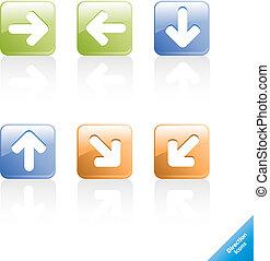 web, richtung, satz, aqua, bearbeiten, icons., edv, leicht, size., 2.0, irgendein