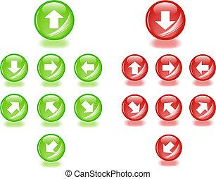 web, richtung, satz, aqua, pfeile, bearbeiten, icons., irgendein, bereiche, vektor, leicht, size., 2.0, style.