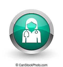 web, ronde, arts, chroom, metalen, achtergrond., ontwerp, internet, groen wit, schaduw, zilver, pictogram