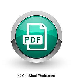 web, ronde, chroom, metalen, achtergrond., groene, bestand, internet, ontwerp, witte , pdf, schaduw, zilver, pictogram