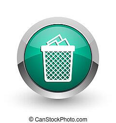 web, ronde, chroom, metalen, achtergrond., ontwerp, groenteblik, internet, groen wit, afval, schaduw, zilver, pictogram